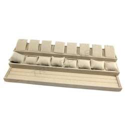 LARGE TRAY FOR JEWELRY, CLOTH OF FLAX BEIGE 72X30X13 CM