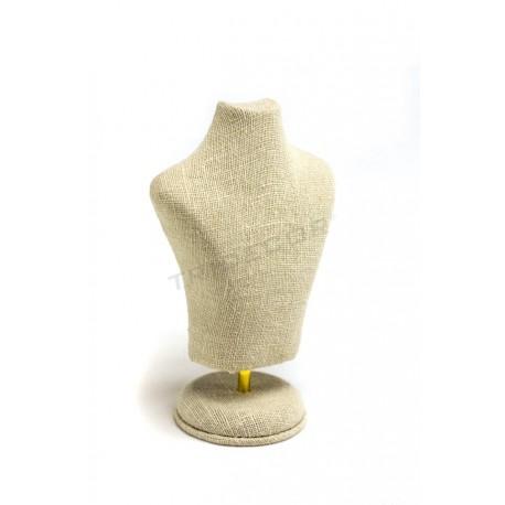Busto para joyería lino beige 15X10X6cm