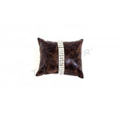 Almohadilla para pulseras, polipiel marrón. tridecor