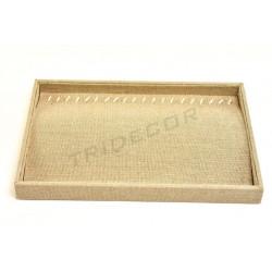 Bandeja joyería, lino grueso 35x24x3 cm, tridecor