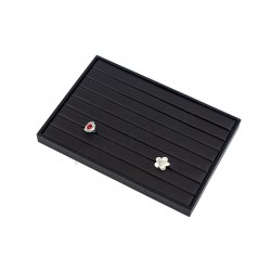 TRAY JEWELRY RING, IMITATION LEATHER BLACK. 35x24x3 CM