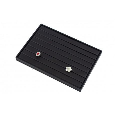 Bandexa de xoias anel, imitación de coiro negro. 35x24x3 cm, tridecor