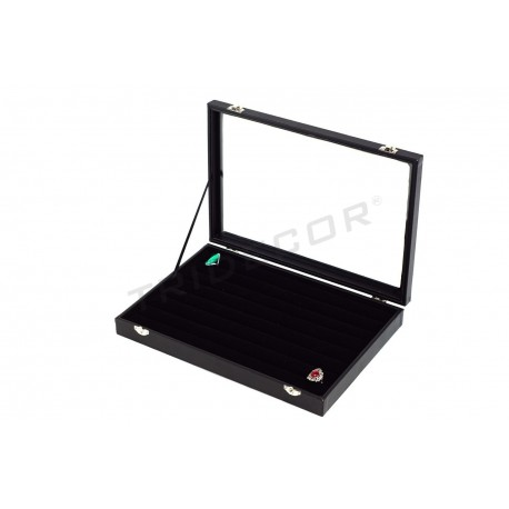 BOX WITH LID FOR RINGS, BLACK