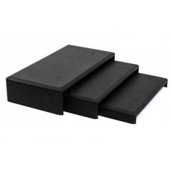 Expositor joyería forma C, 3 alturas, polipiel negra, tridecor