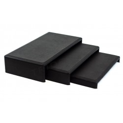SET 3 SMALL TABLES, FORM C, WITH BLACK SYNTHETIC LEATHER