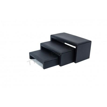Expositor xoias, forma de C, 3 alturas, con negro de coiro sintético, tridecor