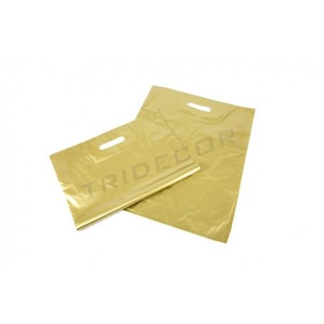 BAG DIE CUT HANDLE GOLDEN 40X50 CM 100 UNITS