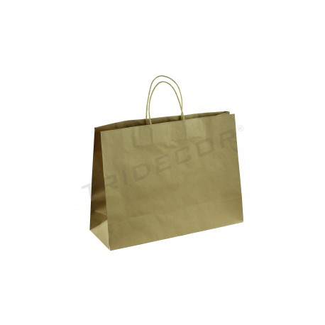 Bolsa de papel kraf con asa de cordón color havana de 45x33x15 cm - 25 unidades