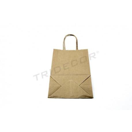 35c41468d Bolsa de papel kraft con asa rizada color havana de 21x14.5x8.5 cm.