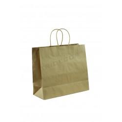Bolsa de papel kraft asa de cordón de algodón color havana de 35x13x30 cm -25 unidades