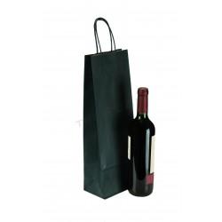 Sac en papier avec poignée à volants bleu marine pour les bouteilles de 39x14x8.5cm. Paquet de 25 unités