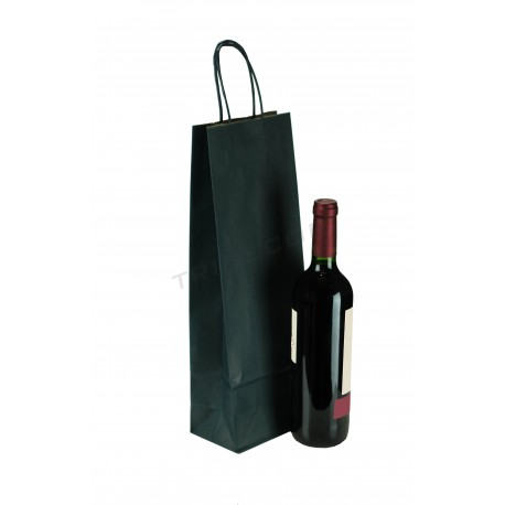 Bolsa de papel con asa rizada de color azul marino para botellas de 39x14x8.5cm. Paquete 25 unidades