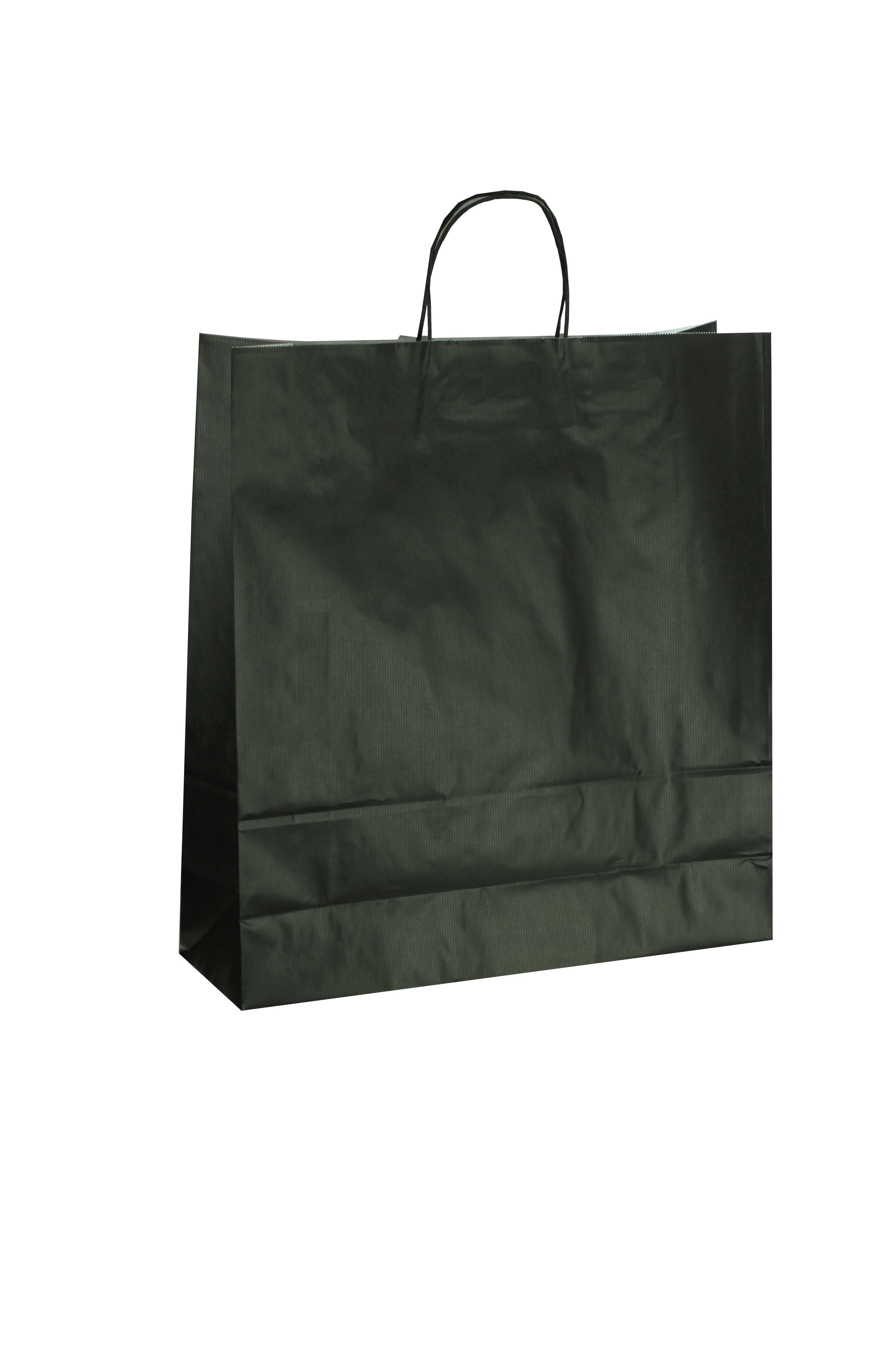 f769938fa Bolsa de papel celulosa asa rizada color negro 22x10x29 cm 25 unidades