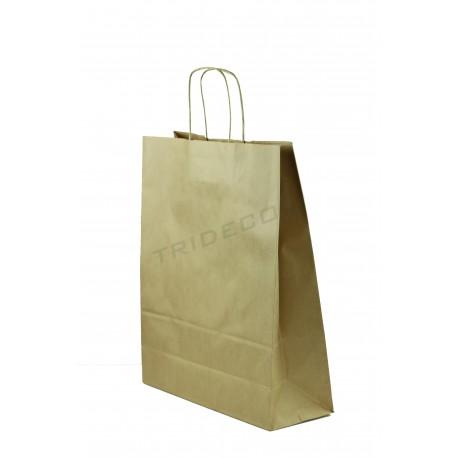 9433a9eec Bolsa de papel con asa rizada color havana de 27x12x37 cm paquetes