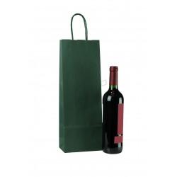 Bolsa de papel kraft con asa rizada color verde de 39x14+8.5cm. Paquete 25 unidades