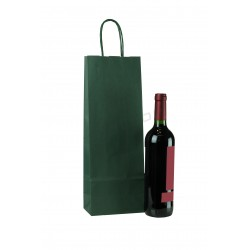 Paper bag kraft with handle crimped green color of 39x14+8.5 cm Package 25 units