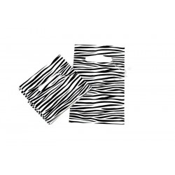 PLASTIC BAG WITH DIE CUT HANDLE AND ZEBRA PRINT 35X45CM 100 UNITS