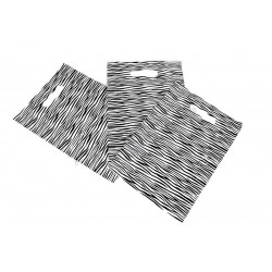 PLASTIC BAG ZEBRA PRINT WITH die cut HANDLE OF 25x35CM 100 UNITS