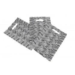 SAC en PLASTIQUE imprimé ZÈBRE AVEC POIGNÉE découpés avec des matrices DE 25x35CM 100 UNITÉS