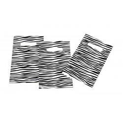 PLASTIC BAG ZEBRA PRINT WITH DIE CUT HANDLE OF 16X25 CM 100 UNITS