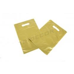 Bolsas de plástico asa troquelada 25x35 cm Dorada 100 unidades Tridecor