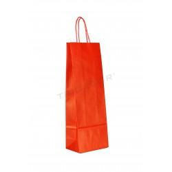 Bolsa de papel kraft con asa rizada para botellas de color rojo de 39x14+8.5cm. Paquete 25 unidades