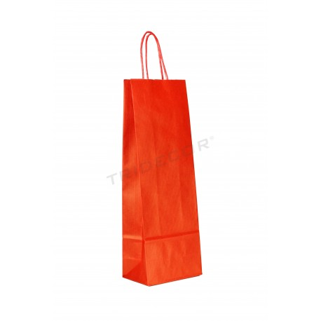 Paper bag kraft with handle crimped to the bottle of red 39x14+8.5 cm Package 25 units