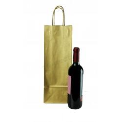 Bolsa de papel celulosa con asa rizada para botellas color oro de 39x14+8.5cm - Paquete 25 unidades