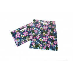 BAG FLORAL PRINT, 50U, 35X45CM DIE CUT HANDLE