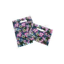 BAG FLORAL PRINT DIE CUT HANDLE 100 UNITS