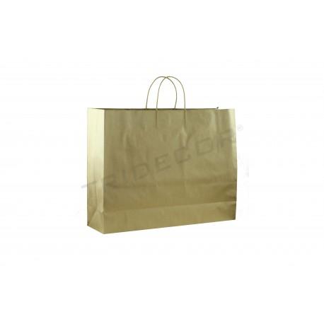Bolsa de papel celulosa con asa de cordón color dorado de 35x30x13cm -25 unidades