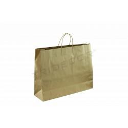 Bolsa de papel kraft con asa rizada color havana de 43x16x54cm-25 unidades