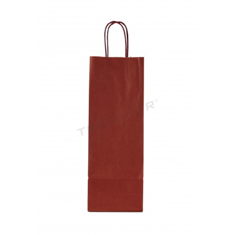Paper bag with handle, curly maroon colored bottle 36x13+8.5 cm Package 25 units
