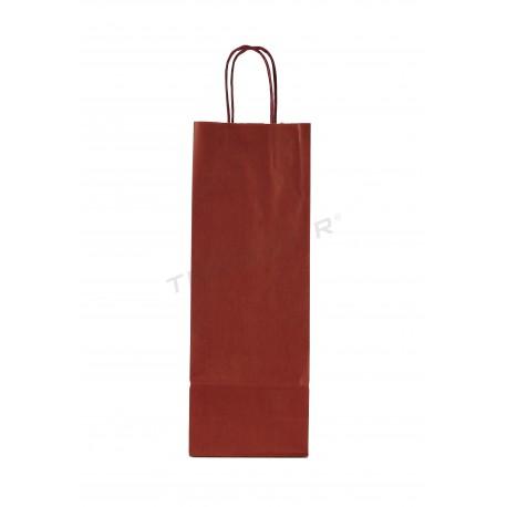 Saco de papel com asa encaracolado cor bordô para garrafas de 36x13+8.5 cm Pacote com 25 unidades