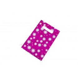 010085 Bolsas de plástico fucsia con margaritas 16x25 cm 100 unidades, tridecor