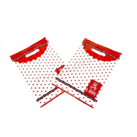 BAG TEDDY BEAR RED HEARTS,100U, DIE CUT HANDLE 25X35 CM