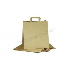 Sac de papier avec la poignée de plat de couleur havane 29x32x16 cm - Paquet de 25 unités
