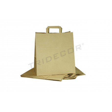 Paper bag with handle flat color havana of 29x32x16 cm - Package of 25 units