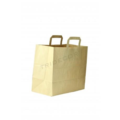 Bolsa de papel con asa plana de color havana de 34x32x16. Paquete de 25 unidades