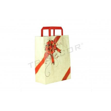 Bolsa de papel celulosa con asa plana color beige lazo rojo 29x22x10 cm. Paquete 25 unidades