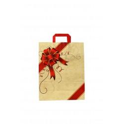 Saco de papel com asa plana bege estampada laço vermelho 32x13x41 cm - 25 unidades