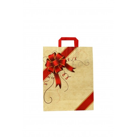 Paper bag with handle flat beige patterned tie red 32x13x41 cm - 25 units