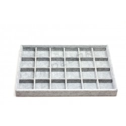 TRAY JEWELLERY VELVET GREY 24 DEPARTMENTS 35x24x3 CM