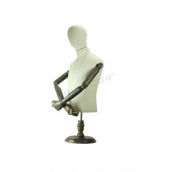 BUST OF MAN FABRIC LINEN ARTICULATED ARMS