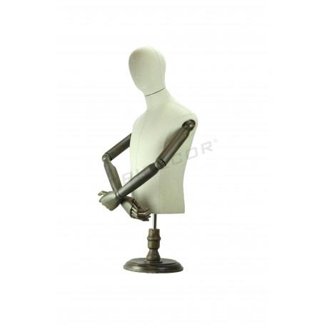 Busto de homem em tela de linho braços articulados