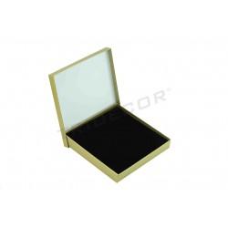 Caja para joyería dorada material rugoso 16x16x3cm 4 unidades