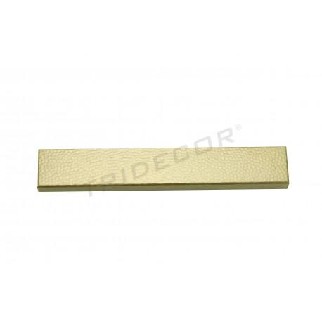 Caixa para jóias dourada material rugoso 21x3x2cm 12 unidades