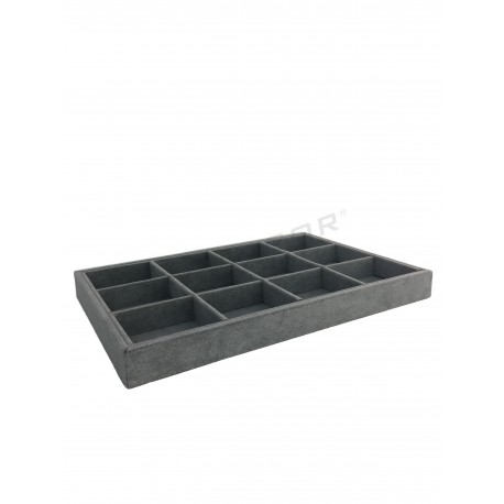 BOX VELVET DARK GRAY 12 DEPARTMENTS 35X24X3 CM