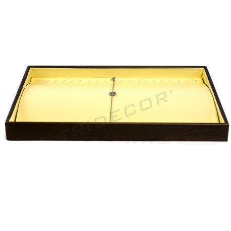 TRAY IS CURVED TO JEWELRY, IMITATION LEATHER, VANILLA/CHOCOLATE