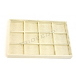 TRAY OF JEWELRY, LINEN BEIGE, 12 COMPARTMENTS